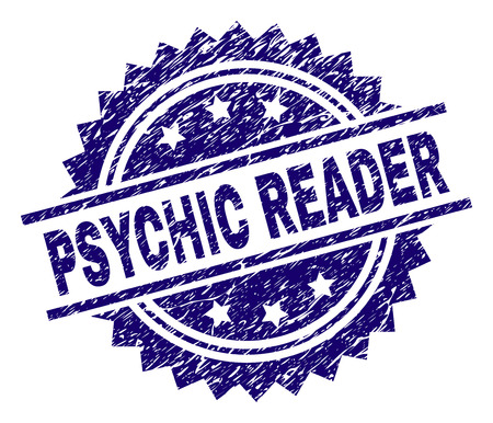 PSYCHIC READER stamp seal watermark with distress style. Blue vector rubber print of PSYCHIC READER caption with corroded texture.