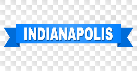INDIANAPOLIS text on a ribbon. Designed with white title and blue stripe. Vector banner with INDIANAPOLIS tag on a transparent background.
