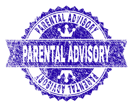 PARENTAL ADVISORY rosette stamp seal overlay with distress style. Designed with round rosette, ribbon and small crowns. Blue vector rubber watermark of PARENTAL ADVISORY caption with retro style.