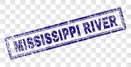 MISSISSIPPI RIVER stamp seal print with rubber print style and double framed rectangle shape. Stamp is placed on a transparent background. Illustration