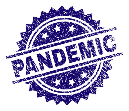 PANDEMIC stamp seal watermark with distress style. Blue vector rubber print of PANDEMIC tag with unclean texture.