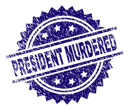 PRESIDENT MURDERED stamp seal watermark with distress style. Blue vector rubber print of PRESIDENT MURDERED text with scratched texture.