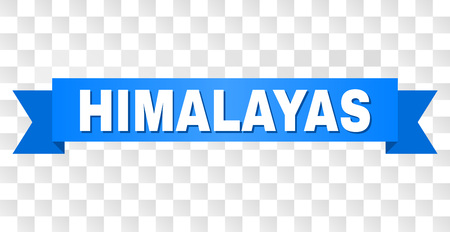 HIMALAYAS text on a ribbon. Designed with white title and blue stripe. Vector banner with HIMALAYAS tag on a transparent background.