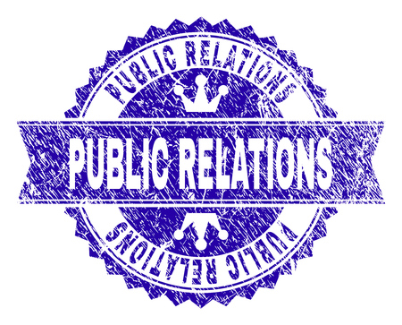 PUBLIC RELATIONS rosette seal watermark with distress style. Designed with round rosette, ribbon and small crowns. Blue vector rubber watermark of PUBLIC RELATIONS title with unclean style.  イラスト・ベクター素材