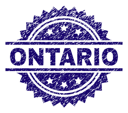 ONTARIO stamp seal watermark with distress style. Blue vector rubber print of ONTARIO text with grunge texture. Illustration
