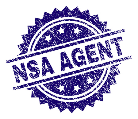 NSA AGENT stamp seal watermark with distress style. Blue vector rubber print of NSA AGENT label with unclean texture. Illustration