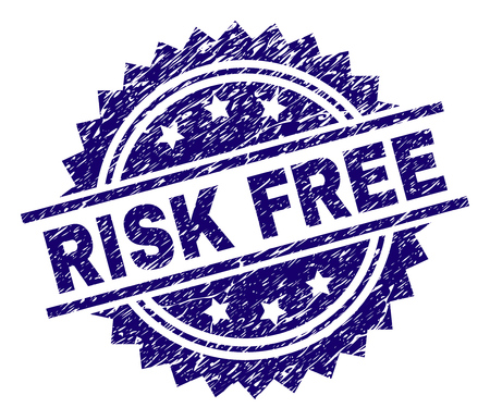 RISK FREE stamp seal watermark with distress style. Blue vector rubber print of RISK FREE title with dust texture. Illustration