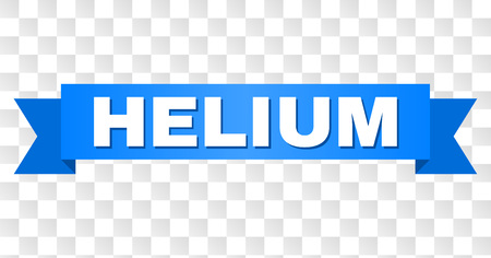 HELIUM text on a ribbon. Designed with white title and blue stripe. Vector banner with HELIUM tag on a transparent background.