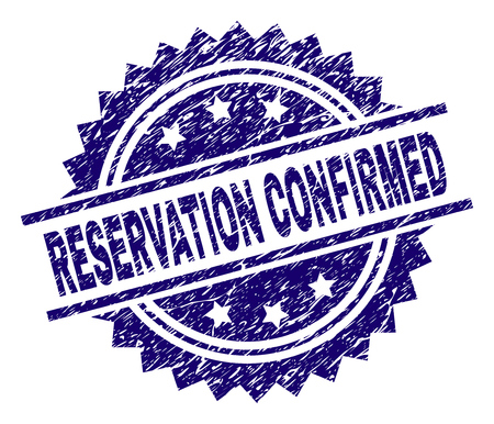 RESERVATION CONFIRMED stamp seal watermark with distress style. Blue vector rubber print of RESERVATION CONFIRMED text with dust texture.