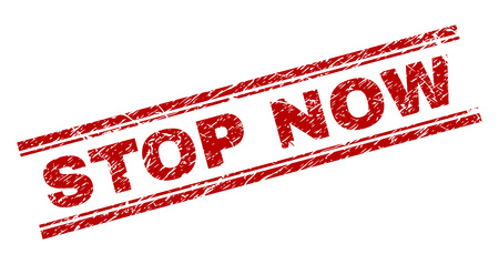 STOP NOW seal watermark with grunge texture. Red vector rubber print of STOP NOW tag with grunge texture. Text caption is placed between double parallel lines.