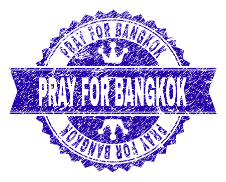 PRAY FOR BANGKOK rosette seal watermark with grunge effect. Designed with round rosette, ribbon and small crowns. Blue vector rubber watermark of PRAY FOR BANGKOK text with grunge style.