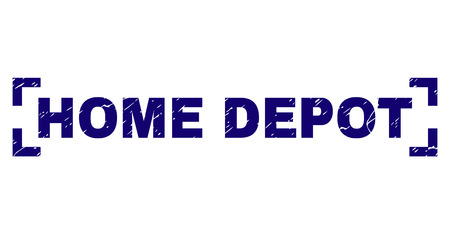 HOME DEPOT text seal watermark with distress texture. Text caption is placed inside corners. Blue vector rubber print of HOME DEPOT with dirty texture.