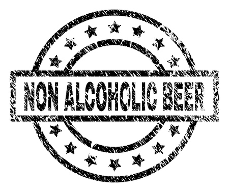 NON ALCOHOLIC BEER stamp seal watermark with distress style. Designed with rectangle, circles and stars. Black vector rubber print of NON ALCOHOLIC BEER text with retro texture.