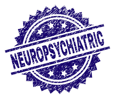 NEUROPSYCHIATRIC stamp seal watermark with distress style. Blue vector rubber print of NEUROPSYCHIATRIC title with unclean texture. Ilustrace