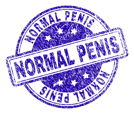 NORMAL PENIS stamp seal imprint with grunge style. Designed with rounded rectangles and circles. Blue vector rubber print of NORMAL PENIS label with grunge texture.