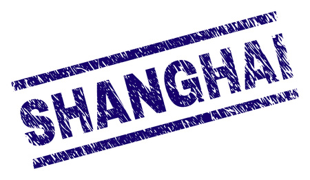 SHANGHAI seal watermark with grunge style. Blue vector rubber print of SHANGHAI text with grunge texture. Text tag is placed between parallel lines. 向量圖像