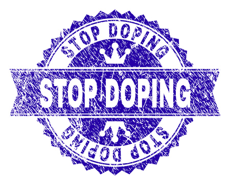 STOP DOPING rosette seal watermark with distress style. Designed with round rosette, ribbon and small crowns. Blue vector rubber watermark of STOP DOPING caption with scratched style. Illustration