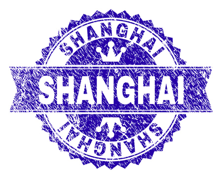 SHANGHAI rosette seal watermark with grunge texture. Designed with round rosette, ribbon and small crowns. Blue vector rubber watermark of SHANGHAI label with scratched texture.