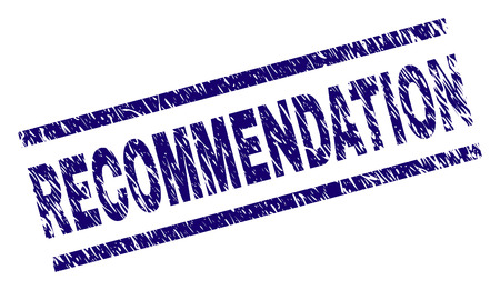 RECOMMENDATION seal watermark with grunge style. Blue vector rubber print of RECOMMENDATION label with retro texture. Text label is placed between parallel lines.