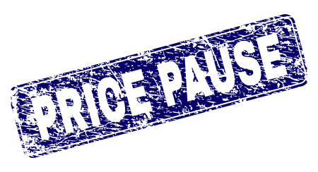 PRICE PAUSE stamp seal print with grunge texture. Seal shape is a rounded rectangle with frame. Blue vector rubber print of PRICE PAUSE tag with grunge style. Çizim