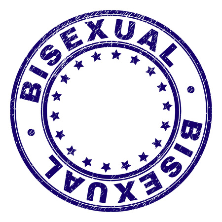 BISEXUAL stamp seal watermark with grunge texture. Designed with round shapes and stars. Blue vector rubber print of BISEXUAL title with grunge texture.