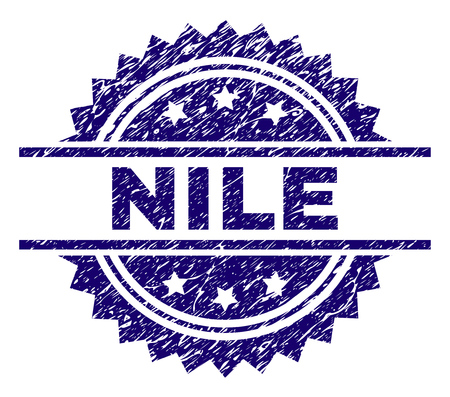 NILE stamp seal watermark with distress style. Blue vector rubber print of NILE label with dirty texture.