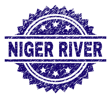 NIGER RIVER stamp seal watermark with distress style. Blue vector rubber print of NIGER RIVER text with retro texture.