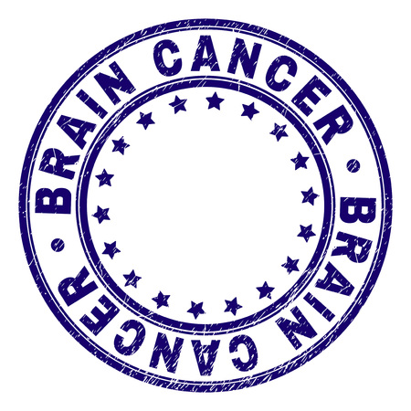 BRAIN CANCER stamp seal watermark with grunge effect. Designed with circles and stars. Blue vector rubber print of BRAIN CANCER text with grunge texture. Ilustração