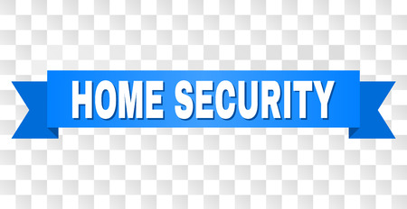 HOME SECURITY text on a ribbon. Designed with white caption and blue stripe. Vector banner with HOME SECURITY tag on a transparent background.