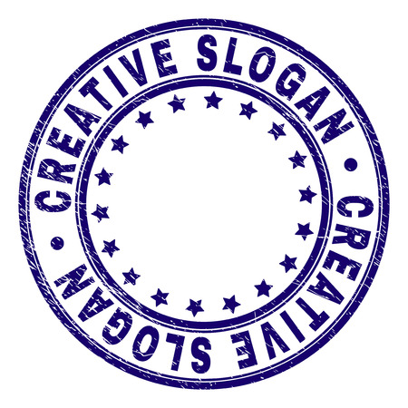 CREATIVE SLOGAN stamp seal imprint with distress texture. Designed with round shapes and stars. Blue vector rubber print of CREATIVE SLOGAN tag with grunge texture.