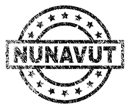 NUNAVUT stamp seal watermark with distress style. Designed with rectangle, circles and stars. Black vector rubber print of NUNAVUT text with dirty texture.