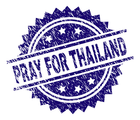 PRAY FOR THAILAND stamp seal watermark with distress style. Blue vector rubber print of PRAY FOR THAILAND text with corroded texture. Illustration