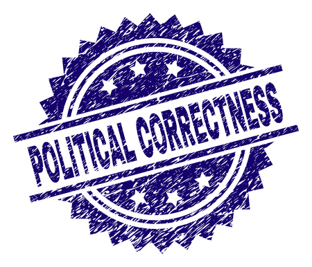 POLITICAL CORRECTNESS stamp seal watermark with distress style. Blue vector rubber print of POLITICAL CORRECTNESS text with scratched texture.