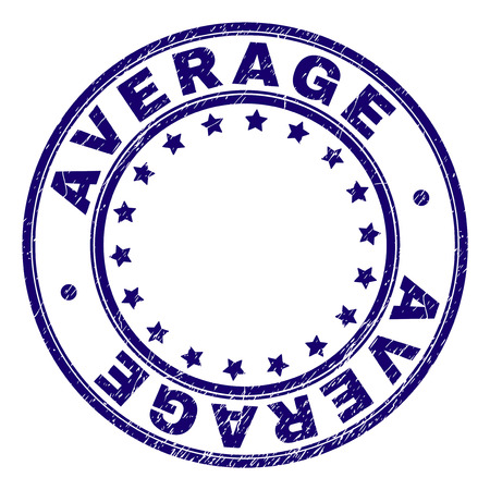 AVERAGE stamp seal imprint with grunge texture. Designed with circles and stars. Blue vector rubber print of AVERAGE caption with retro texture.