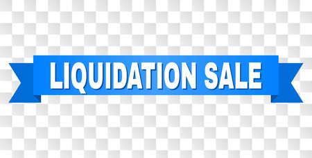 LIQUIDATION SALE text on a ribbon. Designed with white title and blue tape. Vector banner with LIQUIDATION SALE tag on a transparent background.