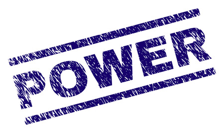 POWER seal print with distress style. Blue vector rubber print of POWER text with dirty texture. Text label is placed between parallel lines.