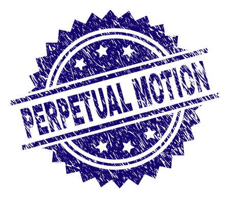 PERPETUAL MOTION stamp seal watermark with distress style. Blue vector rubber print of PERPETUAL MOTION title with corroded texture.