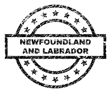NEWFOUNDLAND AND LABRADOR stamp seal watermark with distress style. Designed with rectangle, circles and stars. Black vector rubber print of NEWFOUNDLAND AND LABRADOR text with retro texture.