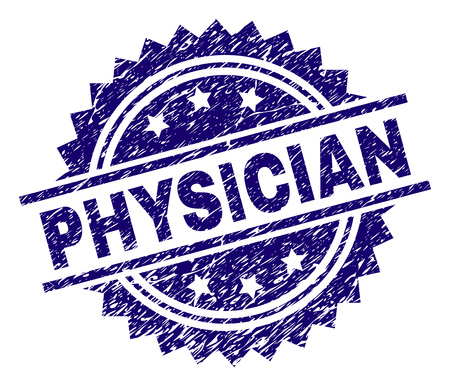 PHYSICIAN stamp seal watermark with distress style. Blue vector rubber print of PHYSICIAN title with corroded texture.