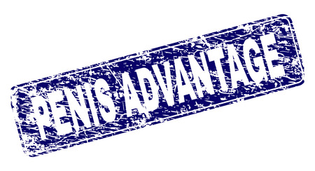PENIS ADVANTAGE stamp seal watermark with distress texture. Seal shape is a rounded rectangle with frame. Blue vector rubber print of PENIS ADVANTAGE caption with grunge texture.