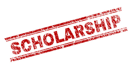 SCHOLARSHIP seal watermark with grunge texture. Red vector rubber print of SCHOLARSHIP title with retro texture. Text title is placed between double parallel lines.