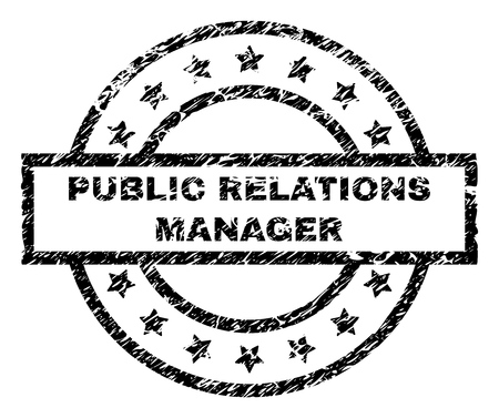 PUBLIC RELATIONS MANAGER stamp seal watermark with distress style. Designed with rectangle, circles and stars. Black vector rubber print of PUBLIC RELATIONS MANAGER text with unclean texture.