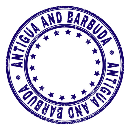 ANTIGUA AND BARBUDA stamp seal watermark with grunge texture. Designed with round shapes and stars. Blue vector rubber print of ANTIGUA AND BARBUDA label with grunge texture.