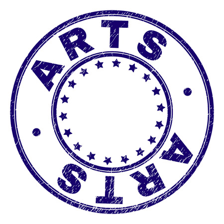 ARTS stamp seal imprint with distress texture. Designed with round shapes and stars. Blue vector rubber print of ARTS text with retro texture.