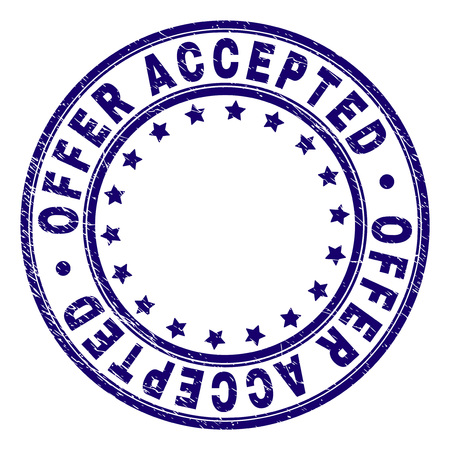 OFFER ACCEPTED stamp seal imprint with grunge texture. Designed with circles and stars. Blue vector rubber print of OFFER ACCEPTED text with unclean texture.