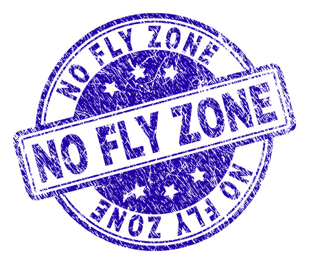 NO FLY ZONE stamp seal watermark with grunge texture. Designed with rounded rectangles and circles. Blue vector rubber print of NO FLY ZONE tag with corroded texture. Vecteurs