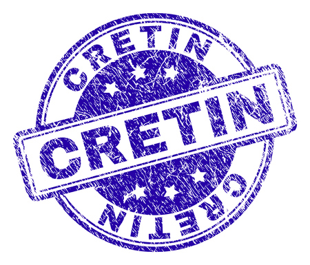 CRETIN stamp seal watermark with grunge texture. Designed with rounded rectangles and circles. Blue vector rubber print of CRETIN label with unclean texture. Illustration