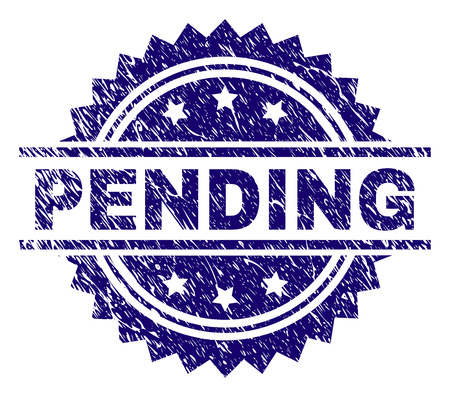 PENDING stamp seal watermark with distress style. Blue vector rubber print of PENDING caption with scratched texture.