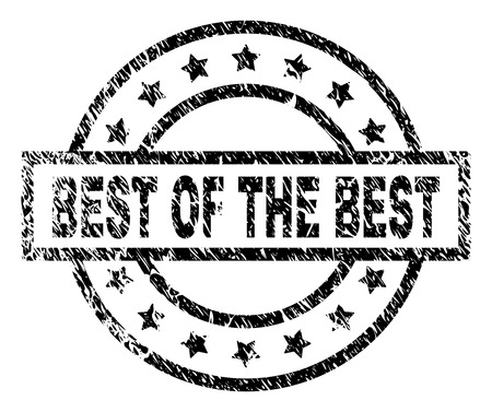 BEST OF THE BEST stamp seal watermark with distress style. Designed with rectangle, circles and stars. Black vector rubber print of BEST OF THE BEST caption with scratched texture.
