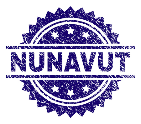 NUNAVUT stamp seal watermark with distress style. Blue vector rubber print of NUNAVUT caption with grunge texture. Illustration